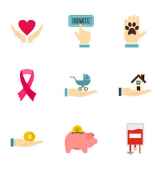 Charity donation organization icons set flat style vector
