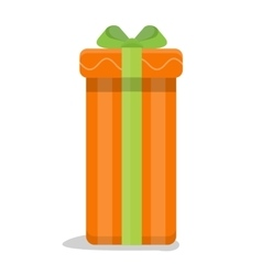 Christmas Orange Gift Box with Green Bow vector