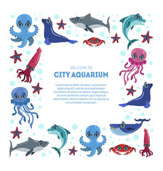 City aquarium exhibition banner template flyer vector