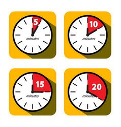 Clock set five ten fifteen and twenty minutes vector
