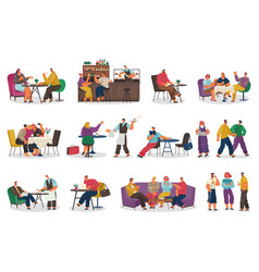 coffeehouse clients and staff cafe collection vector image