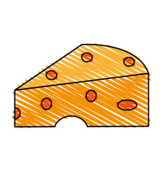 Color crayon stripe cartoon piece of cheese vector