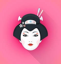 Colored flat style geisha face vector