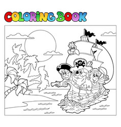 coloring book with pirate scene 3 vector image
