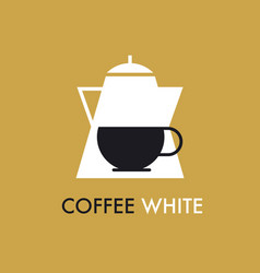concept flat coffee pot and cap icon vector image