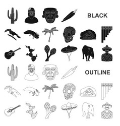 country mexico black icons in set collection for vector image