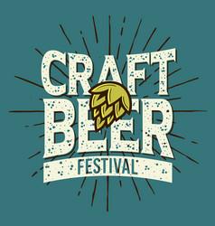 Craft beer festival typographic label design vector