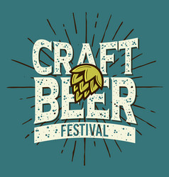 Craft beer festival typographic label design with vector