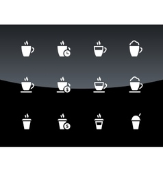 Cup icons on black background vector image