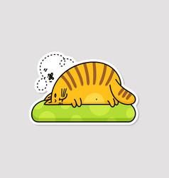 Cute fat lazy cat lying on pillow cartoon vector