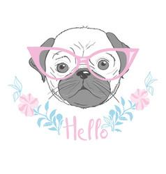 Cute french bulldog princess hand drawn graphic vector