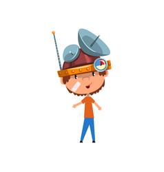 Cute kid in headdress with antennas measuring vector