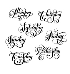 day of the week handwritten black ink calligraphy vector image