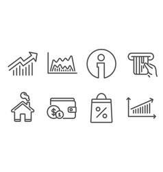 Demand curve trade chart and credit card icons vector