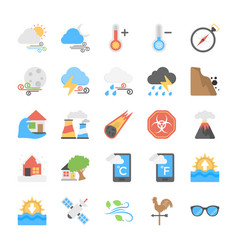 disasters and weather conditions flat icons colle vector image