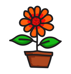 draw flower icon vector image