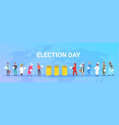 Election day concept different occupations voters vector