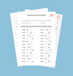 Exam form paper sheet with student result vector