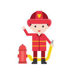 firefighter man set profession character of vector image