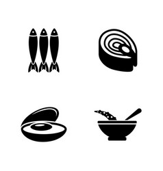 Fish dish simple related icons vector