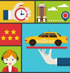 Flat concept of order taxi vector image