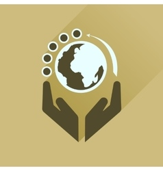 Flat icon with long shadow Earth hands vector