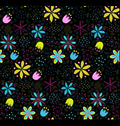 floral colorful seamless pattern background vector image