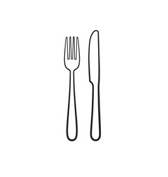 fork and knife icon like silhouette isolated on vector image