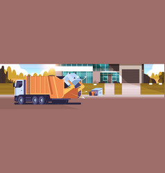 garbage truck picking up recycle trash bin in vector image