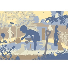 Gardening family vector image