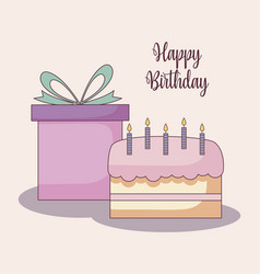 Gift box with sweet cake vector