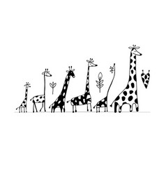 Giraffes family sketch for your design vector
