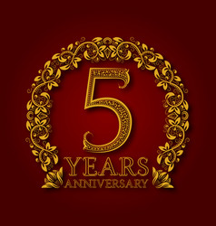 golden emblem of fifth years anniversary vector image