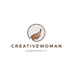 Grey hair woman logo icon line outline monoline vector