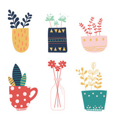 hand draw set of different vases and jugs with vector image