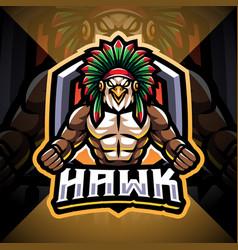 Hawk esport mascot logo design vector