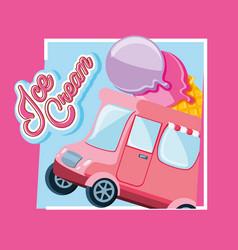 Ice cream shop van vector