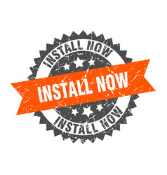 Install now stamp grunge round sign with ribbon vector