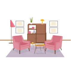 Interior lounge area furnished in retro 80-s vector