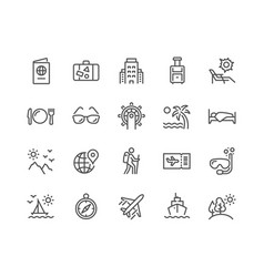 Line travel icons vector