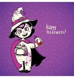 little girl witch holding baby bottles vector image