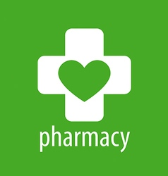 logo heart and cross for pharmacy vector image