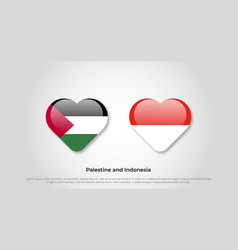 Love palestine and indonesia symbol heart flag vector