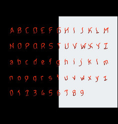 Maniac font terrifying letters and numbers vector