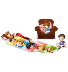 Many children taking nap in living room vector