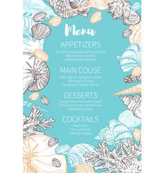marine seashells sketch menu wedding party vector image
