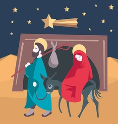 Mary and Joseph flee to Egypt Nativity Jesus vector