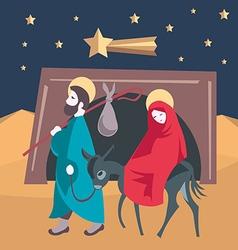 Mary and Joseph flee to Egypt Nativity Jesus vector
