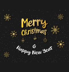 merry christmas card golden snowflake vector image