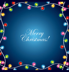 merry christmas garland lights greeting cards vector image
